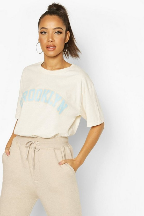 Ecru Oversized Brooklyn Graphic Tee