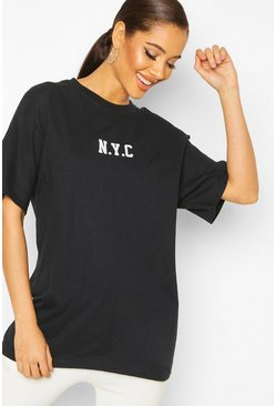 Black Oversized Micro Slogan NYC Tee
