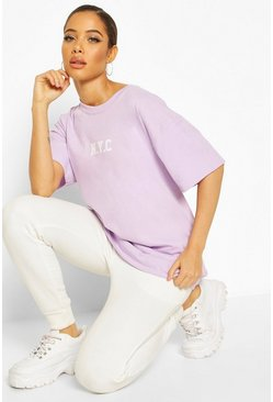Pale lilac Oversized Micro Slogan NYC Tee