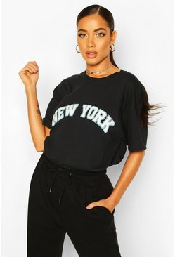 Black Oversized New York Graphic Tee