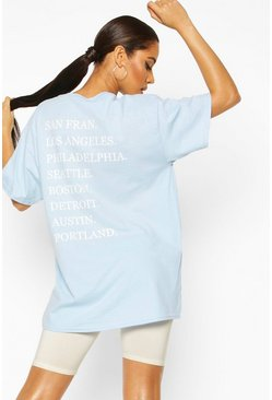 Pastel blue Oversized Graphic Back Slogan Tee