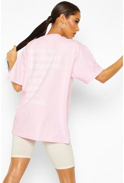 Pastel pink Oversized Graphic Back Slogan Tee