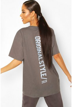 Charcoal Oversized Overdyed Back Graphic Tee