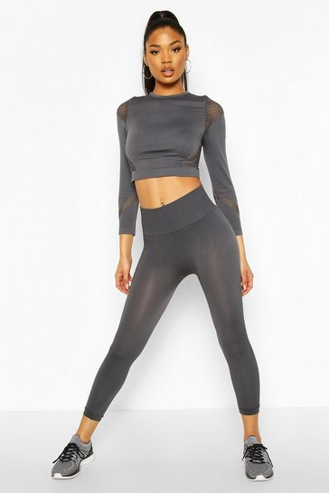 Charcoal Fit Rib Seamfree 3/4 Gym Leggings