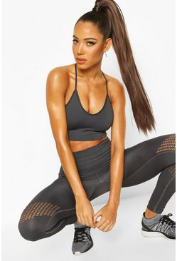 Charcoal Fit Laser Cut Seam Free Workout Leggings