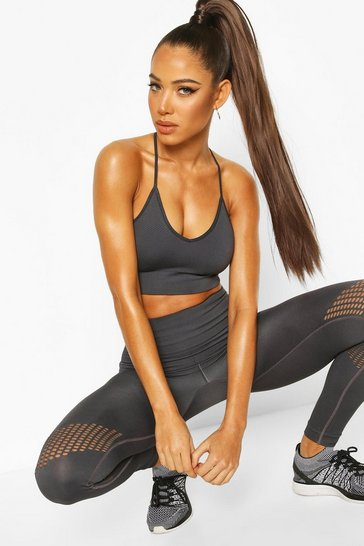 Charcoal Fit Laser Cut Seam Free Gym Leggings