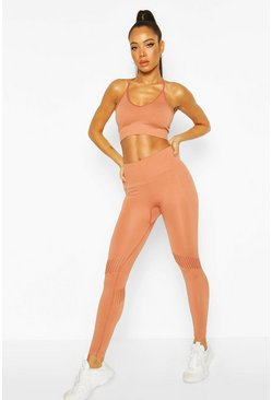 Peach Fit Laser Cut Seam Free Gym Leggings