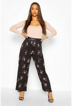 Black Floral Print Wide Leg Trousers With Tie Belt