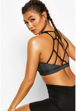 Charcoal Fit Cage Back Medium Support Sports Bra