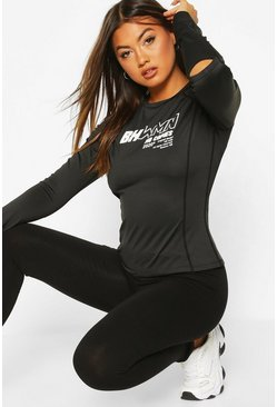 Black Fit Woman Long Sleeve Running Top