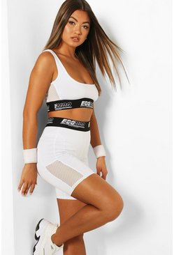 White Fit Woman Tape Cycling Shorts