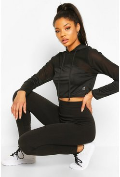Black Fit Mesh Insert Cropped Gym Hoodie