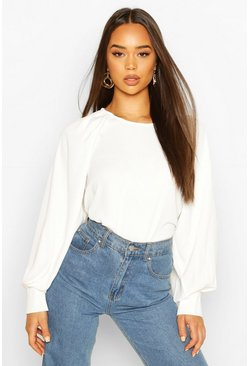 White Woven Pleated Shoulder Blouse