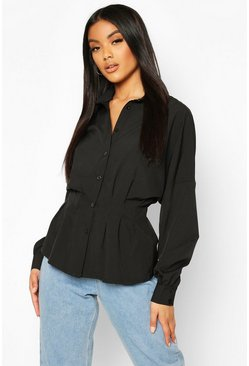 Black Pleated Waist Cotton Shirt