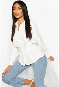 White Pleated Waist Cotton Shirt