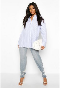 Blue Cotton Stripe Oversized Shirt