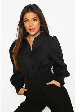 Black Woven Puff Sleeve Shirt