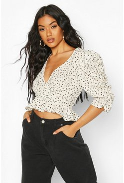 White Woven Printed Puff Sleeve Blouse