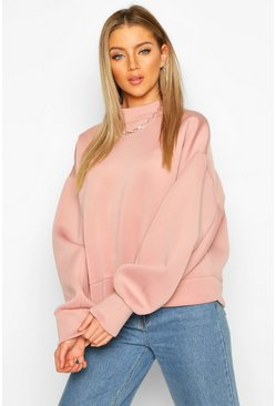 Dusky pink High Neck Super Oversize Scuba Sweat