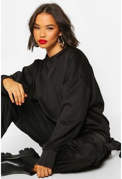 Womens Black High Neck Pinhole Oversize Sweatshirt