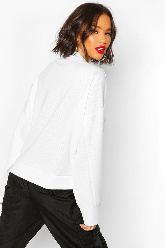 High Neck Pinhole Oversize Sweatshirt