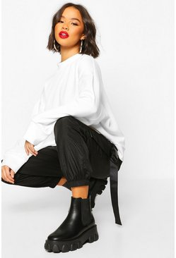 White High Neck Pinhole Oversize Sweatshirt