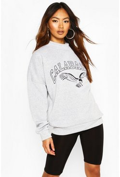 Grey marl High Neck Oversize Slogan Sweat