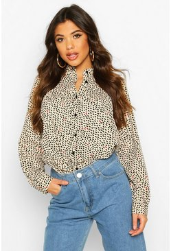 Womens Stone Grandad Collar Printed Shirt