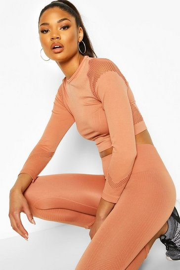 Peach Fit Laser Cut Seam Free Long Sleeve Crop Top