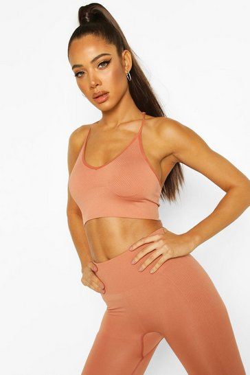 Peach Fit Ribbed Moulded Sports Bra