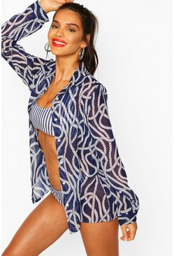Navy Nautical Rope Print Oversized Beach Shirt