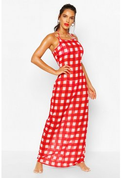 Red Gingham Strappy Maxi Beach Dress