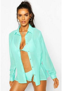 Turquoise Oversized Beach Shirt