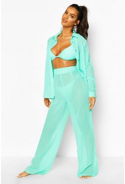 Turquoise Wide Leg Beach Trousers