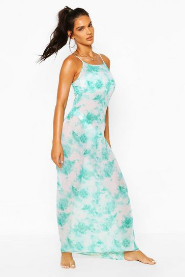 Turquoise Tie Dye Strappy Maxi Beach Dress
