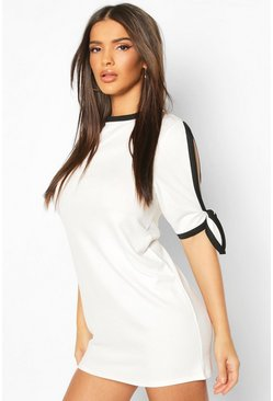 Womens Cream Tie Sleeve Shift Mini Dress With Contrast Edge