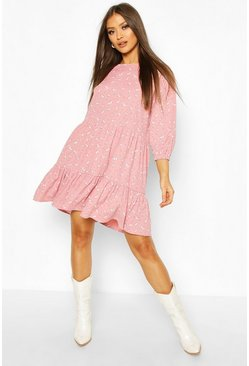 Pink Tiered Smock Dress In Ditsy Floral