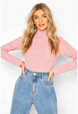 Pink Turtle Neck Top In Ditsy Floral