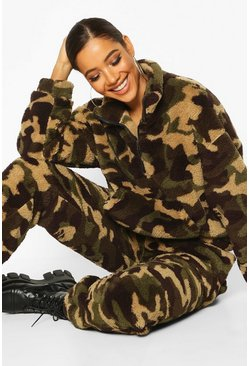 Womens Camo Borg Zip Oversized Sweat