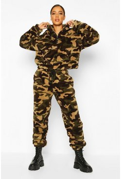 Womens Camo Borg Fleece Jogger