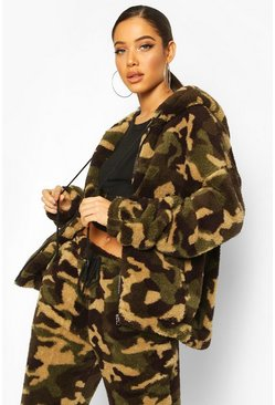 Camo Borg Zip Through Hoodie