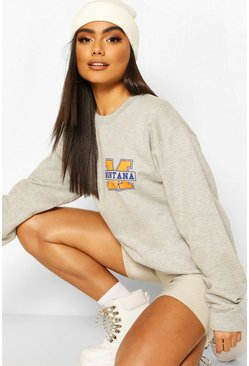 Grey Montana Slogan Oversized Sweat