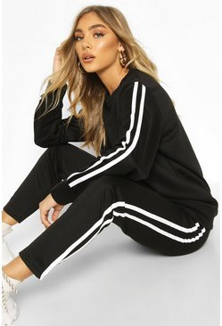 Black Side Stripe Jogger Set