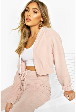 Blush Premium Soft Velour Zip Through Hoodie