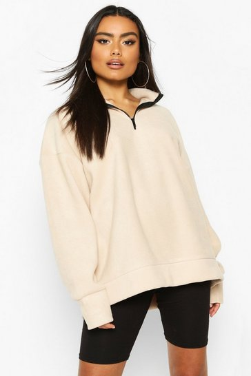 Sand Half Zip Fleece Extreme Oversized Sweat