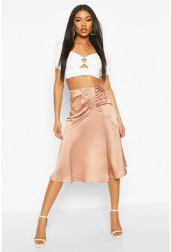 Nude Ruched Front Satin Midi Skirt