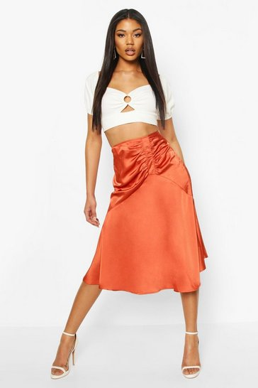 Terracotta Ruched Front Satin Midi Skirt