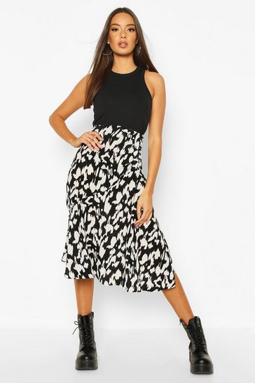 Black Ruched Front Animal Print Midi Skirt