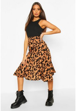 Terracotta Ruched Front Animal Print Midi Skirt