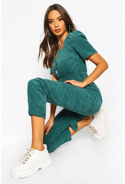 Bottle green Chunky Cord Button Front Boiler Suit